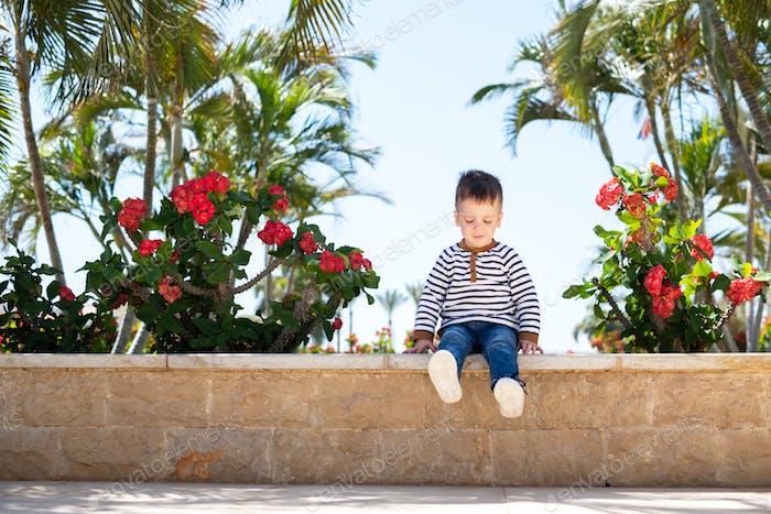 Little boy kid sitting on bench in park