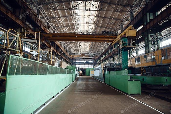 Turbine manufacturing factory interior, nobody