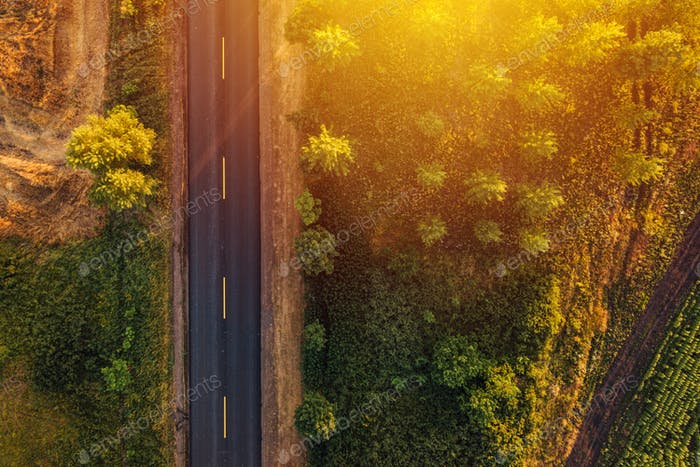 Empty road through countryside in sunset, aerial view drone pov