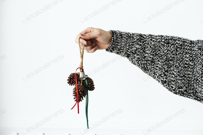 Woman holding conifer cones
