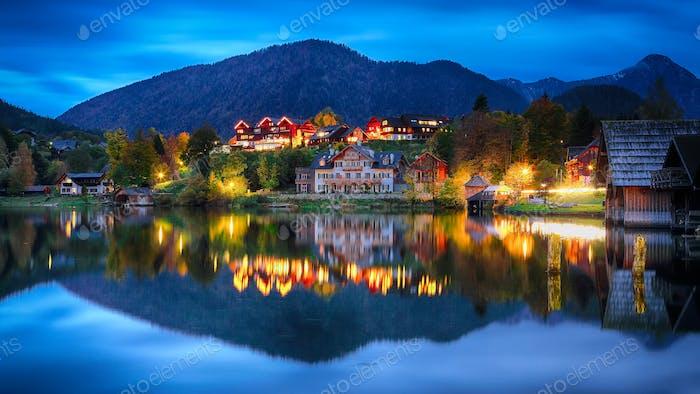 Grundlsee lake in Alps mountains. Night scene