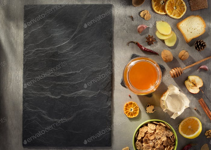 healthy food on stone table