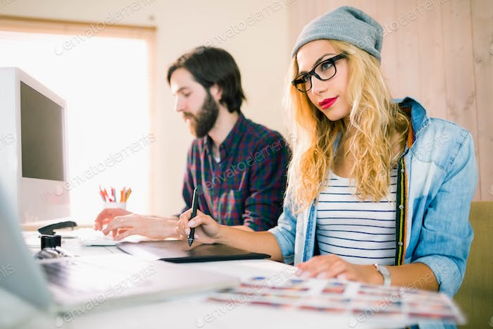 Creative business team working together in casual office