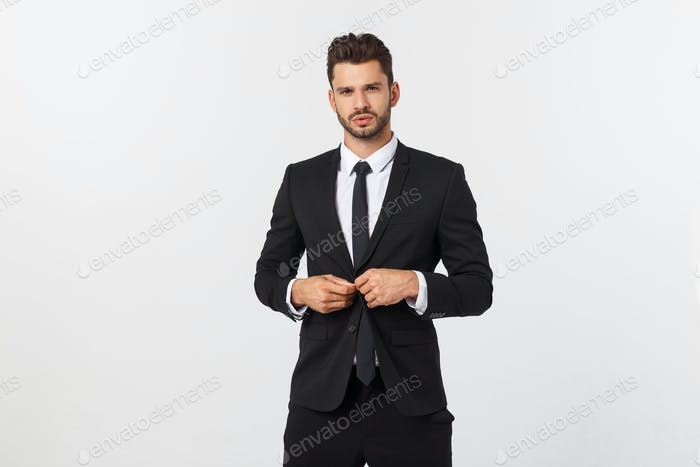 Business Concept - Portrait Handsome Business man confident face. White Background