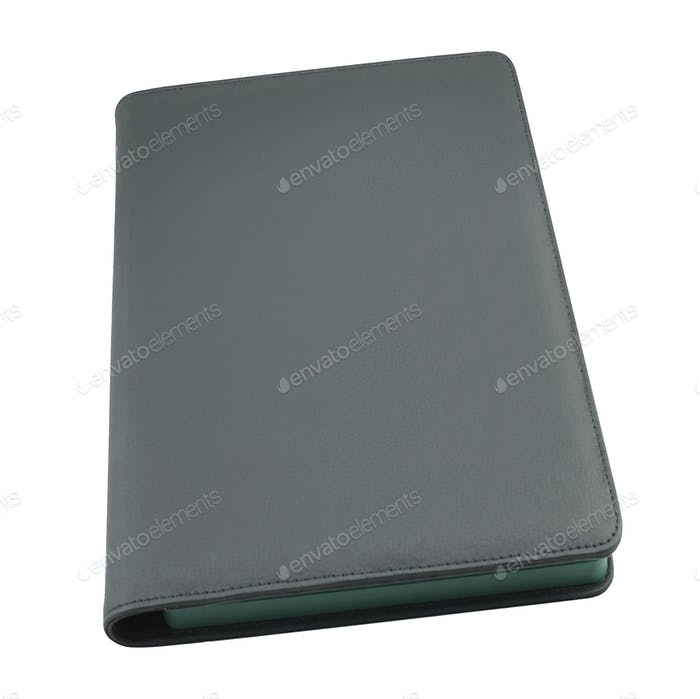 Black leather tablet isolated