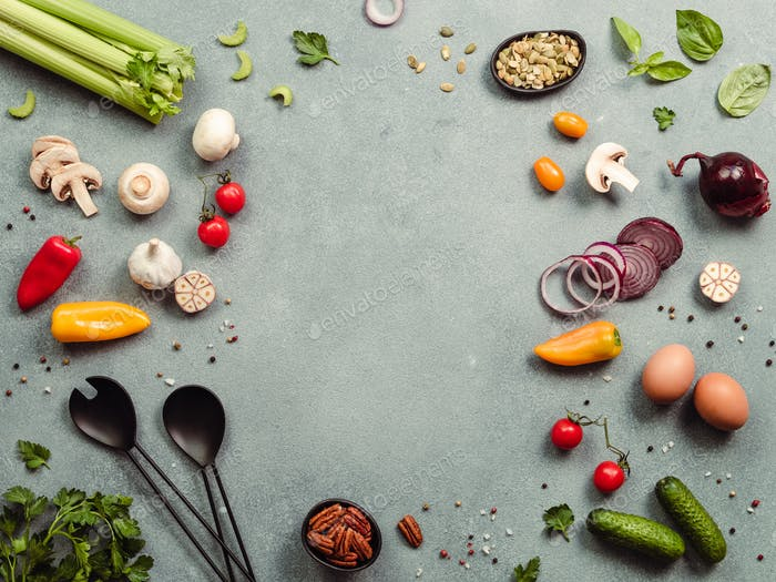 Vegetarian ingredients, copy space