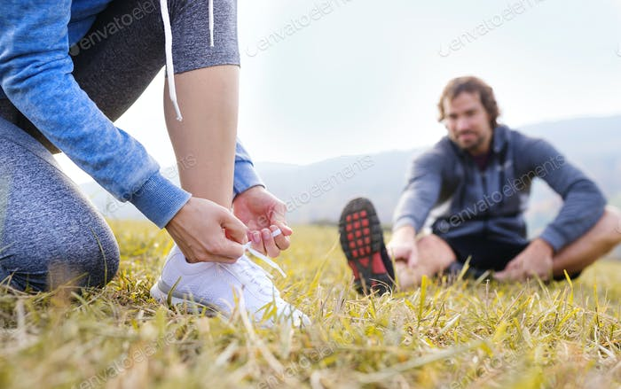 Beautiful couple running