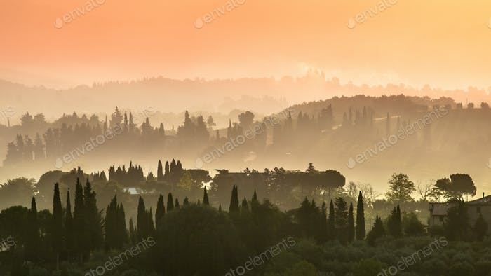 Toskana Dorf Landschaft