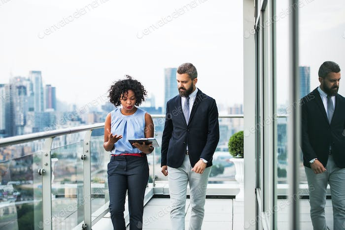 A portrait of two businesspeople walking against London view panorama.