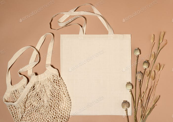Beige cotton tote bags for mock up