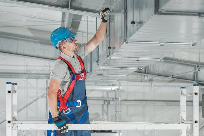 Commercial HVAC Systems Installation Inside the Warehouse