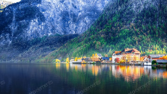 Scenic view of famous Hallstatt mountain village with Hallstatter lake.