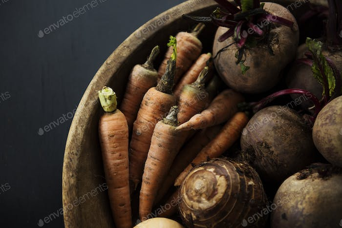 Closeup of various beetroot vegetable in wooden basket