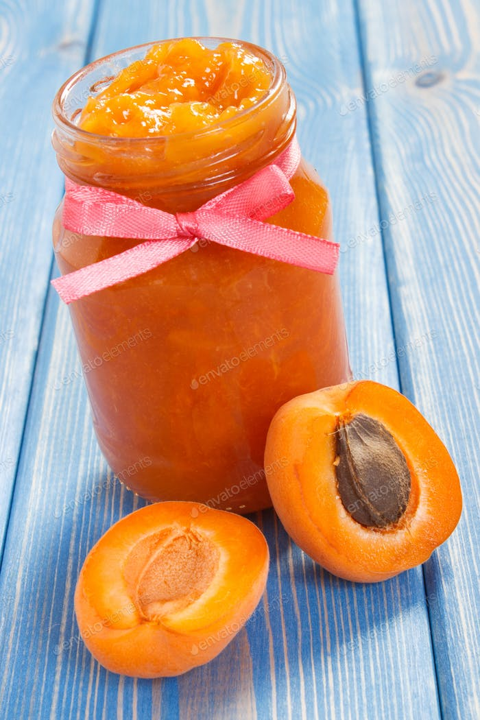 Homemade natural apricot jam and fruits, healthy dessert concept