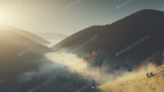 Epic chain hill forest slope landscape aerial view