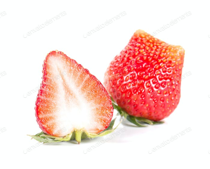 Strawberry,Strawberrycut half on white background.