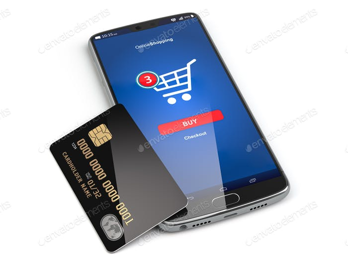 Mobile phone or smartphone with credit card.