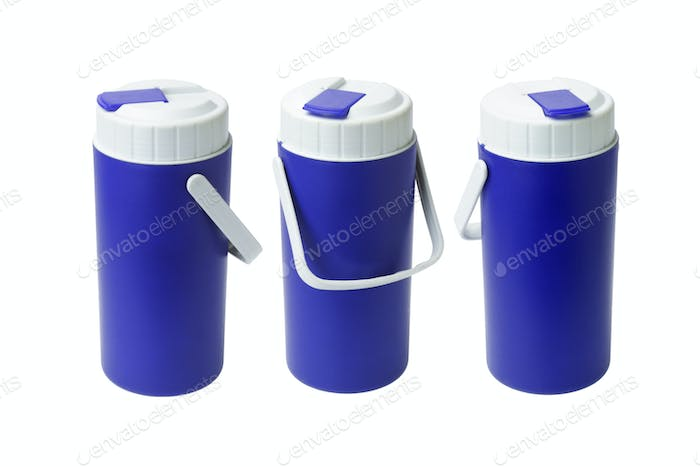 Three Blue Plastic Containers