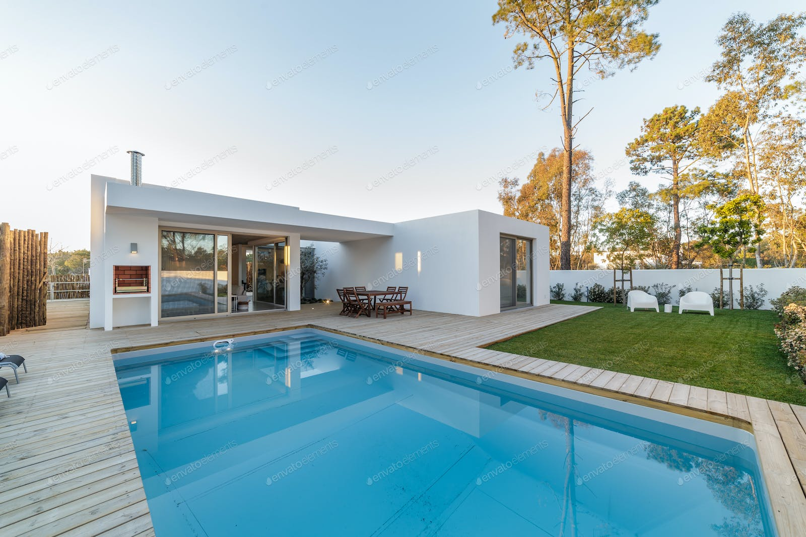 Modern House With Garden Swimming Pool And Wooden Deck Photo By Luisviegas On Envato Elements
