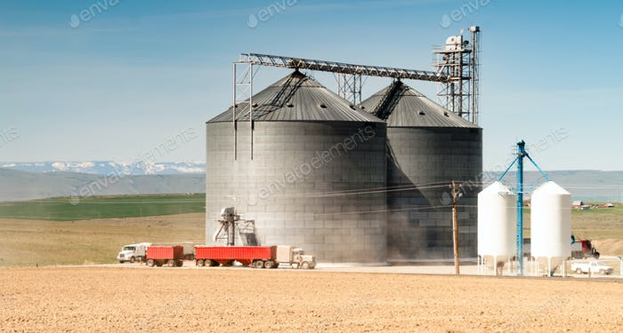 Silo Grain Elevator Food Storage Agriculture Industry Truck Transport