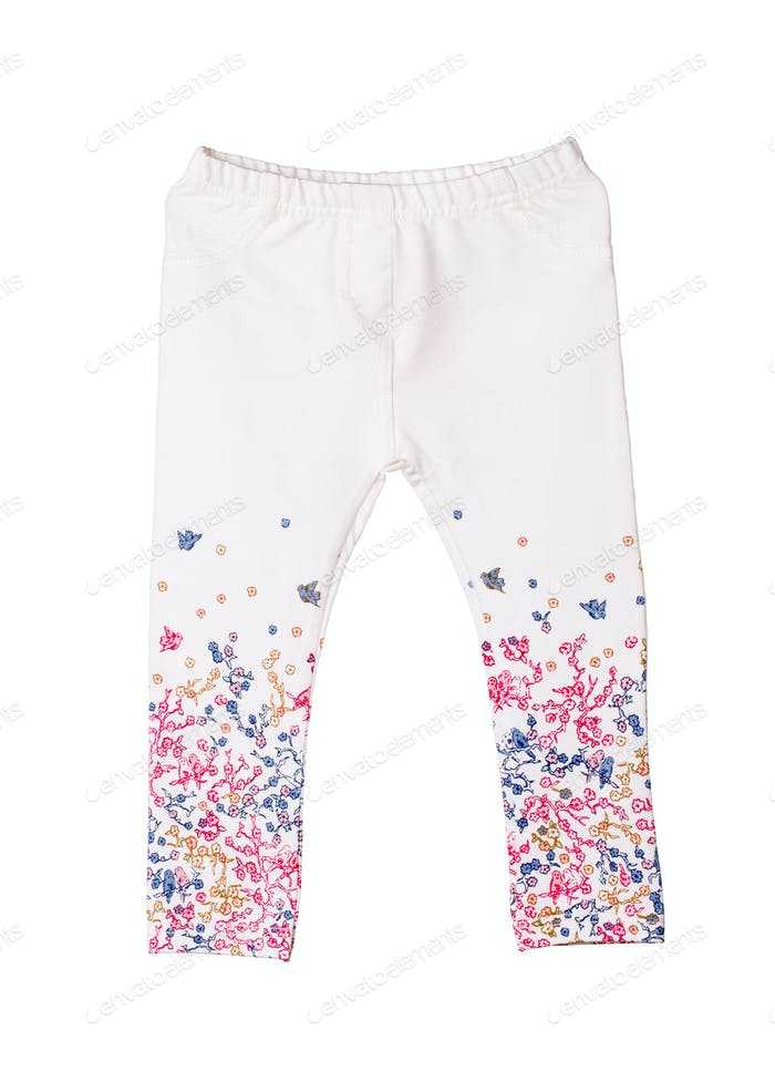 White children's panties with birds and flowers.