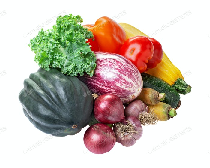 Pile of vegetables isolated