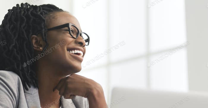 Happy Afro Business Woman Having Rest, Sitting On Workplace
