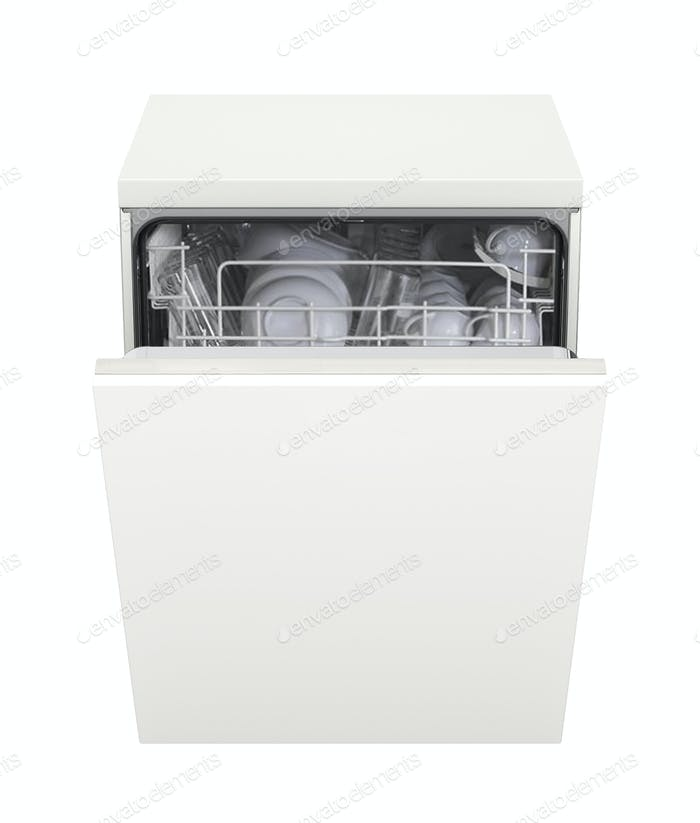 Open dishwasher isolated on white