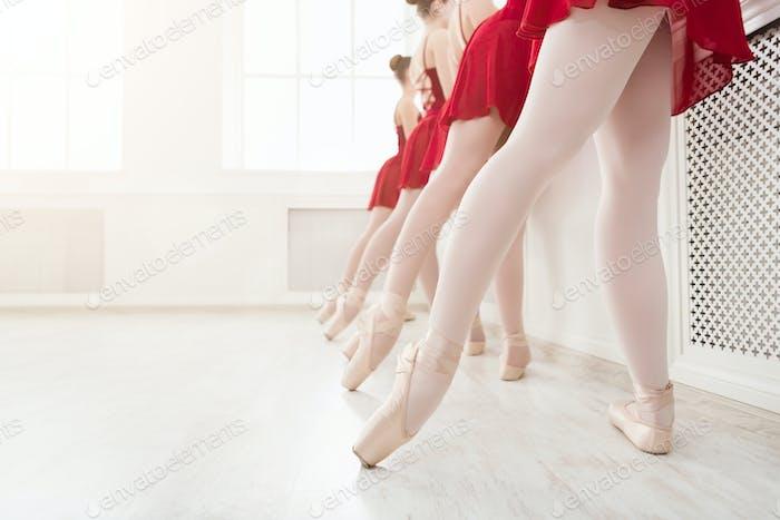Ballet background, young ballerinas training