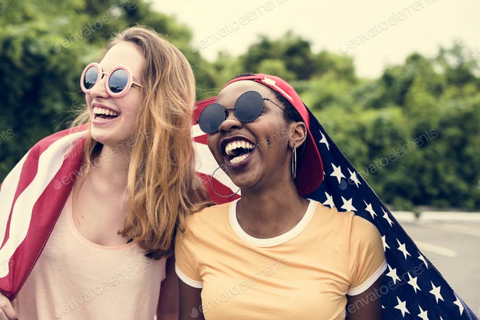 Women with American flag