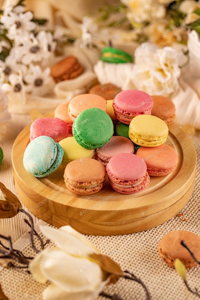 Macaron sweet meringue sandwich cake
