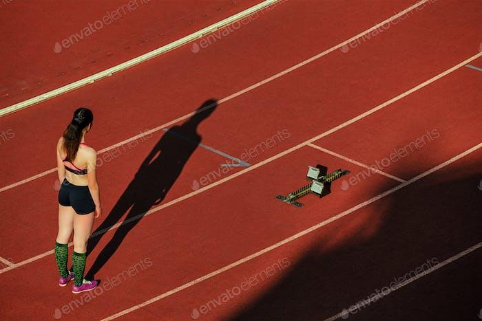 Schatten Frau Läufer laufen