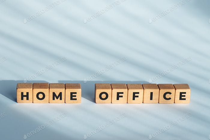 Home Office phrase on wooden blocks
