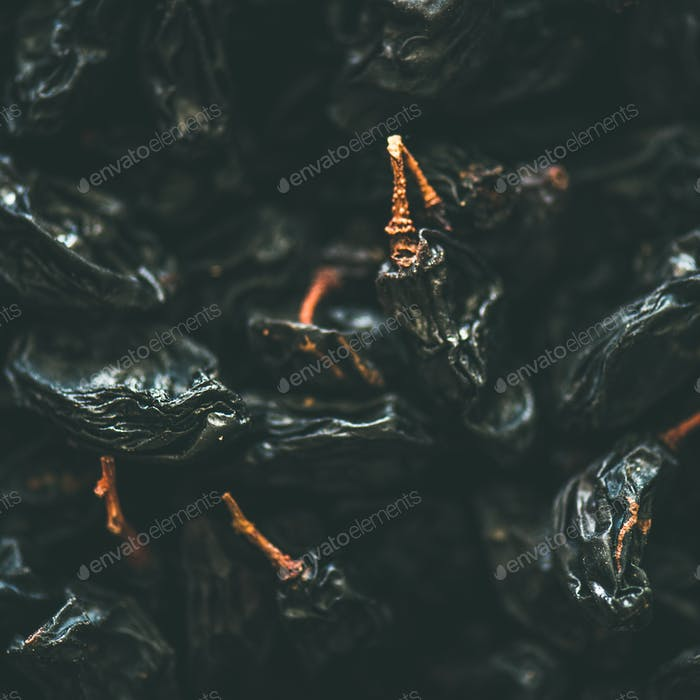Flat-lay of black dried raisins, selective focus, close-up