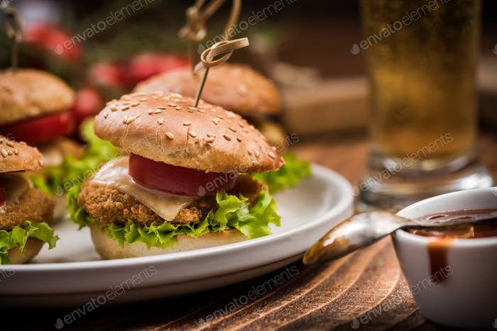 Tasty american burgers with sauce