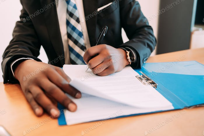 Businessman working at office.