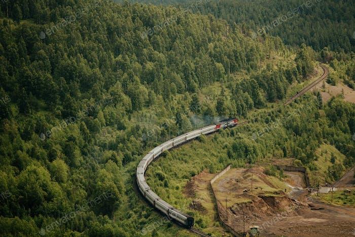 passenger train with diesel locomotive