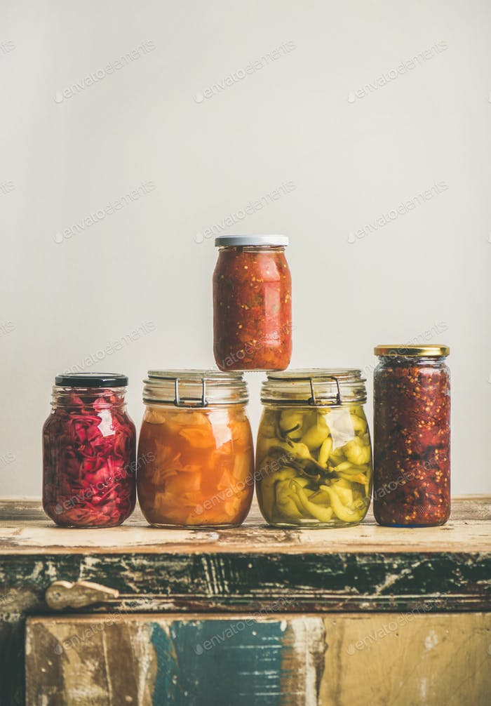 Autumn seasonal pickled or fermented colorful vegetables, copy space