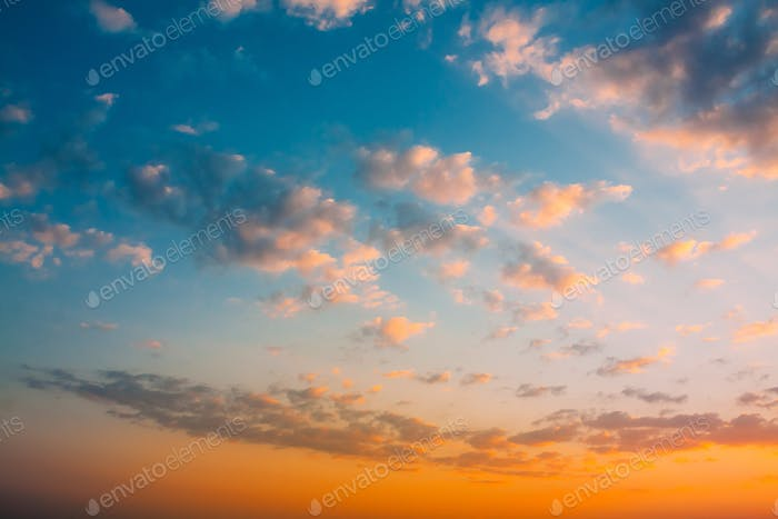 Sunset Sunrise Sky Background. Natural Bright Dramatic Sky In Su