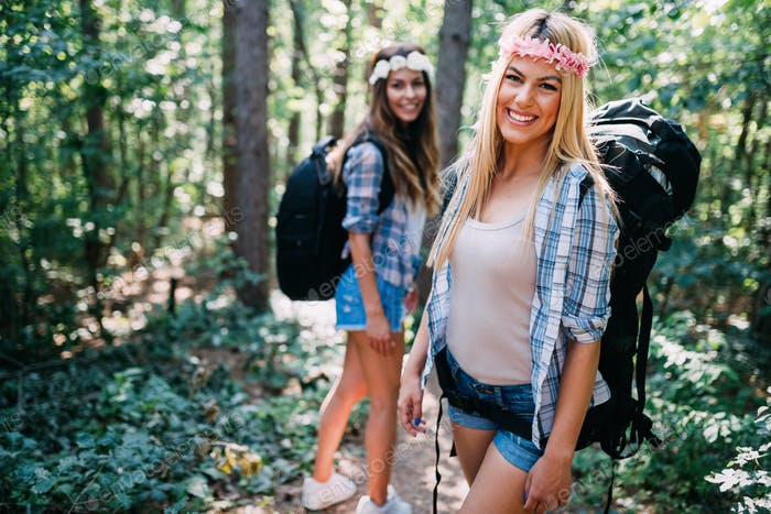 Beautiful young women spending time in nature