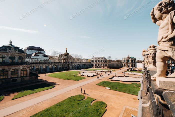 Dresden, tourists in Zwinger. Dresden.Dresden historical Palace, and a tourist attraction in the