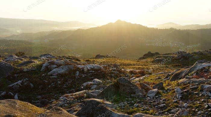 Panoramablick auf den Berg Galiñeiro in Vigo, Spanien