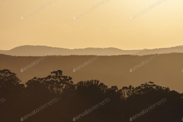 Sunset over the Sunshine Coast hinterland