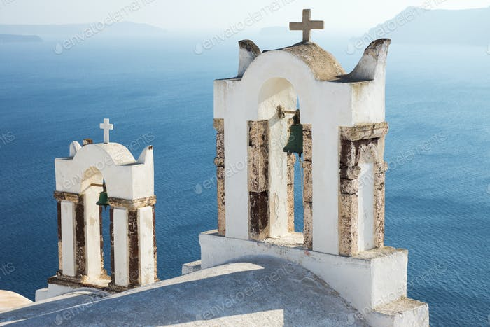 Small belltowers in Oia