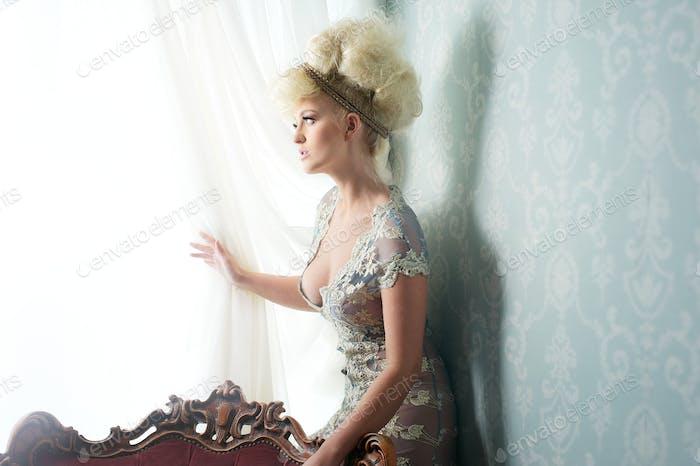 Fashion Model in Beautiful Dress