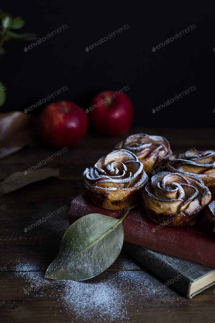 Homemade Apple Rose Tarts on Rustic Table