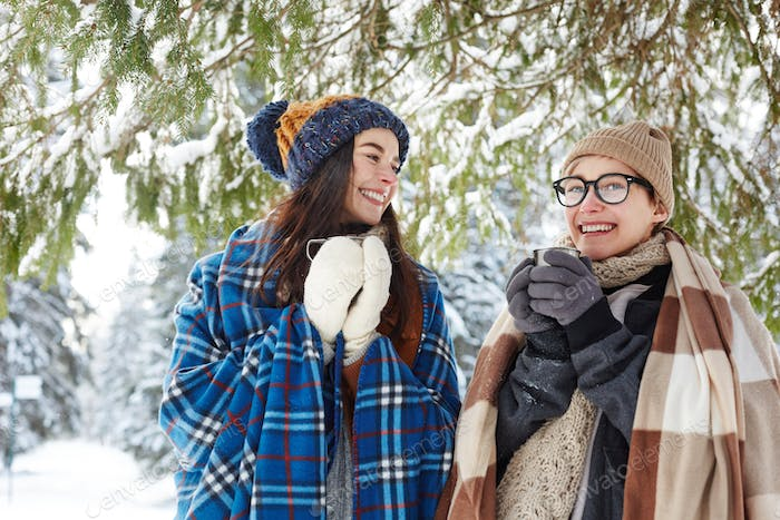Two Young Women on Winter Vacation
