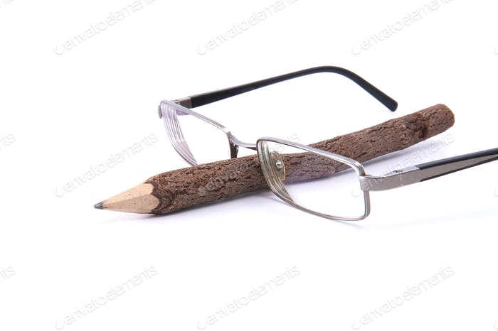 Glasses and pencil.