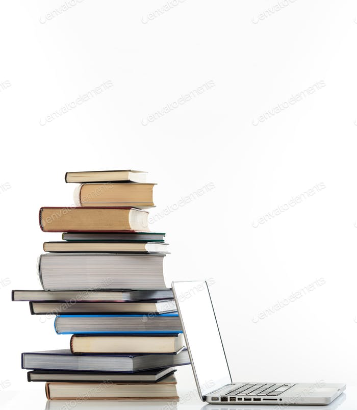 Elearning, books stack and a laptop isolated on white background