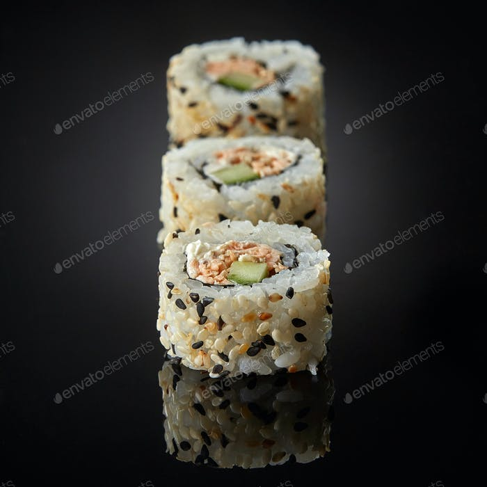 sushi with salmon and cucumber